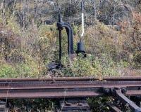 The arrow on the old railway line Stock Photo