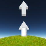 Arrow with open door points upward. Arrow with open door points toward sky Royalty Free Stock Photography
