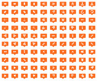 Arrow orange message icons set Stock Photo