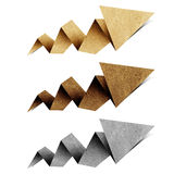 Arrow origami tag recycled paper craft. Stick on white background Royalty Free Stock Photos