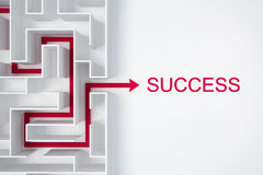 Arrow out of labyrinth for success business conception Stock Photography