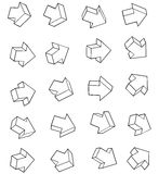 Arrow outline icon collection over white background Royalty Free Stock Images