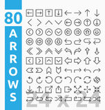 80 Arrow outline icons for user interface and web project Stock Image