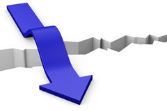 Arrow over gap. Blue arrow moving over a deep gap Royalty Free Stock Images