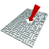 Arrow over a labyrinth Stock Images