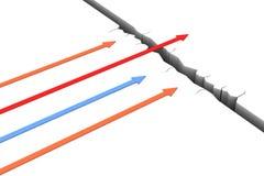 The arrow overcome the broken floor Stock Image