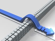 An arrow overcoming obstacles indicate success. 3D illustration. A big arrow to move forward Royalty Free Stock Photo
