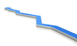An arrow overturns the course many times. Royalty Free Stock Image