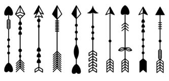 Arrow patterns pointers directions. 10 arrow vectors with different heads and tils royalty free illustration