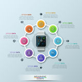 Arrow Pencil Infographic Design Template. Smart Watch Infographic Cycle Design Template. Can be used for workflow layout, diagram, number options, step up Stock Photos