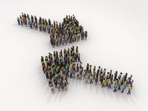 Arrow of people. 3D illustration Royalty Free Stock Images