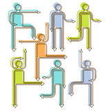 Arrow people directional icons. People directional icons with arrow arms and legs Stock Photo
