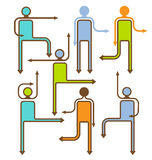 Arrow people directional icons. People directional icons with arrow arms and legs Stock Photos