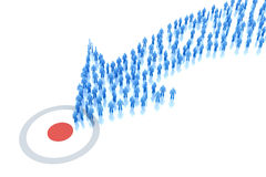 Arrow of people moves to the target Royalty Free Stock Photo