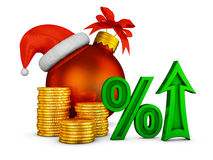 Arrow percent and Christmas ball Stock Images