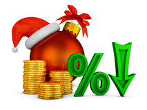 Arrow percent and Christmas ball Royalty Free Stock Photography