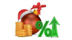 Arrow percent and Christmas ball stock video