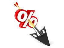 Arrow with percentage sign Royalty Free Stock Photos