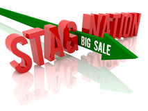 Arrow with phrase Big Sale breaks word Stagnation. Royalty Free Stock Photos
