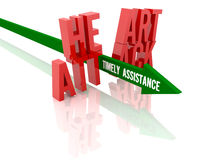 Arrow with phrase Timely Assistance breaks phrase Heart Attack. Stock Image