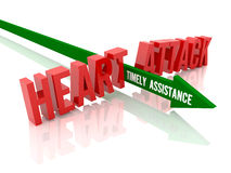 Arrow with phrase Timely Assistance breaks phrase Heart Attack. Stock Images