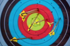 The arrow pierced the center of the paper target of concentric circles of different colors. Royalty Free Stock Images
