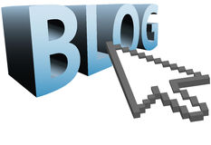 Arrow pixel cursor clicks on 3D word to BLOG BIG. An arrow pixel cursor to click on a big blue BLOG 3D word Royalty Free Stock Photo