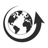 arrow and planet earth icon Royalty Free Stock Photo