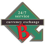 Arrow pointer on service for Bitcoin exchange Stock Images