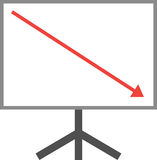 Arrow pointing down on board Royalty Free Stock Photos