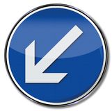 Arrow pointing down to the left Stock Image