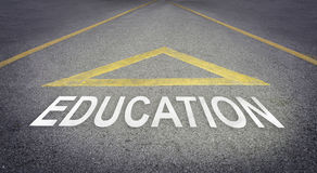Arrow pointing forward for better future with Education. Royalty Free Stock Image