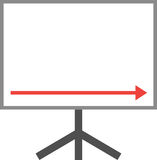 Arrow pointing right down on board Royalty Free Stock Photo