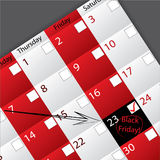 Arrow pointing to circled black friday. Date Royalty Free Stock Images
