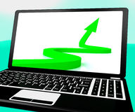 Arrow Pointing Up On Laptop Shows Improvement And Success Stock Image