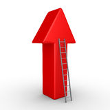 Arrow pointing upwards and a ladder. 3d arrow pointing upwards and a ladder leaning to it Royalty Free Stock Photo
