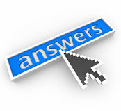 Arrow Points to Word Answers in Blue Bar stock illustration