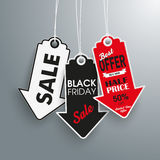 3 Arrow Price Stickers Black Friday. 3 arrow price sticker on the gray background Royalty Free Stock Images