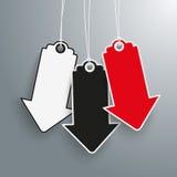 3 Arrow Price Stickers Black Friday. 3 arrow price sticker on the gray background Stock Photos