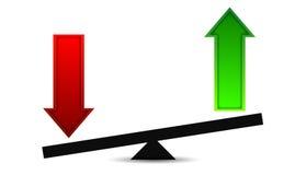 Arrow profits and losses balance Royalty Free Stock Photos