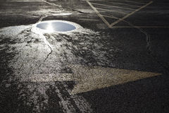 Arrow Puddle and Parking Lot Lines on Wet Pavement Royalty Free Stock Photos