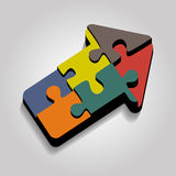 Arrow puzzle concept on gray background. Vector. Illustration Royalty Free Stock Photos