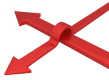 Arrow Red Jump Over. Jump over red arrow symbol 3d, over white, isolated, horizontal Stock Image