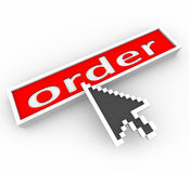 Arrow on Red Order Button Stock Image