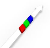 Arrow with rgb stripes Stock Image