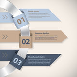 Arrow ribbons around metallic ring infographic template. With 3 options Royalty Free Stock Image