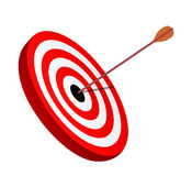 Arrow right on the target. Symbol of winning Royalty Free Stock Image