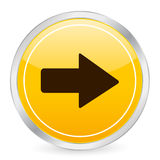 Arrow right yellow circle icon Stock Photo