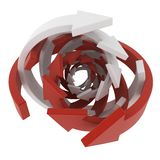 Arrow Ring Ball. 3d, over white, isolated Royalty Free Stock Photos