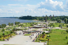Arrow of the rivers Volga and Kotorosl a Sunny day in July. Yaroslavl, Russia Royalty Free Stock Image